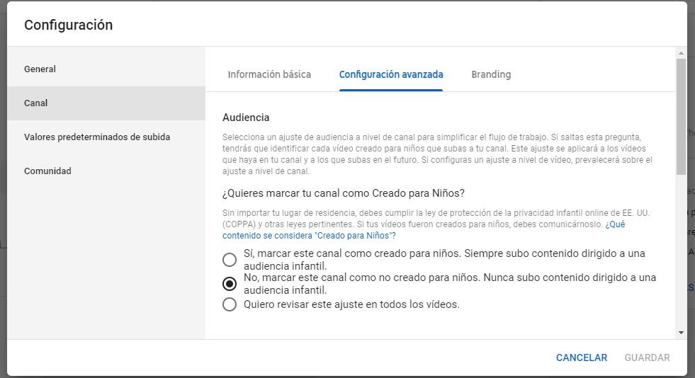 Ley COPPA. Cómo configurar un canal de YouTube. Fuente: propia