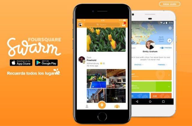 Swarm, red social de Foursquare. Captura de pantalla de la red social