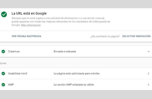 Comprobar en Google Search Console si una página web está indexada