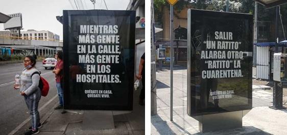 marquesina publicitaria durante la pandemia del Covid-19
