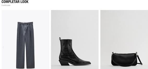 Completar look como técnica de venta cross selling. Fuente: Página web oficial de Zara
