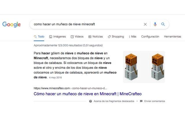 ejemplo de featured snippet o posición cero en Google