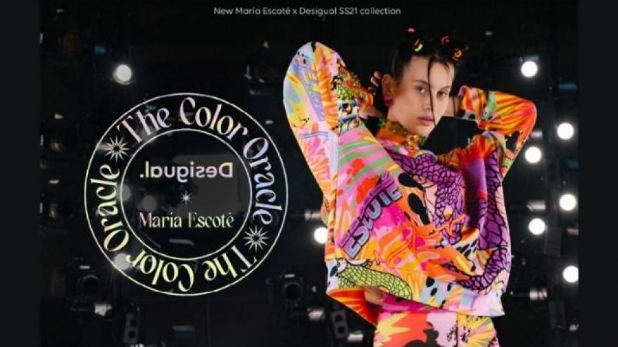 campaña de María Escoté para Desigual con un avatar CGI de Milena Smit