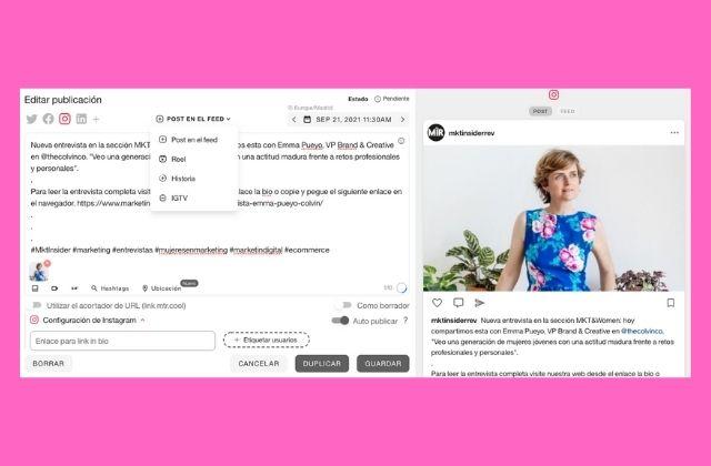 pasos para publicar con Metricool en Instagram