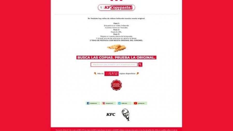 KFC lanza una web para canjear recetas fake por su receta original de pollo