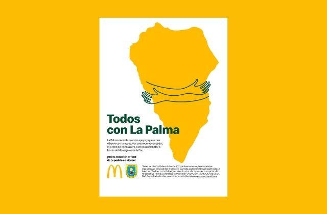 campaña Todos con La Palma de McDonald's y Mensajeros de la Paz para recaudar fondos para afectados por el volcán Cumbre Vieja